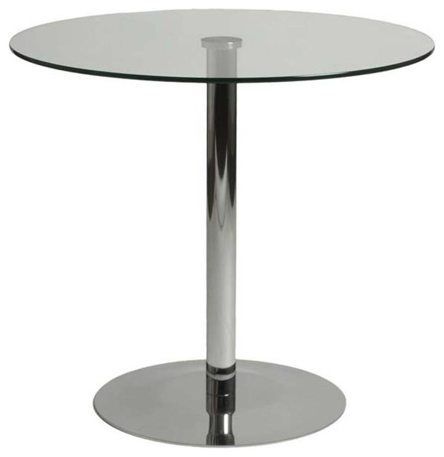 Eurostyle Ava Round Clear Glass Bistro Table w Chrome Base