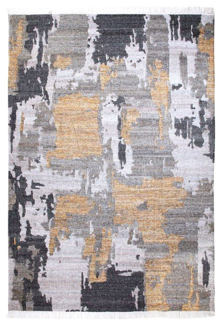 Handwoven Gold And Gray Tasseled Wool Area Rug, 8&x27;x10&x27;.