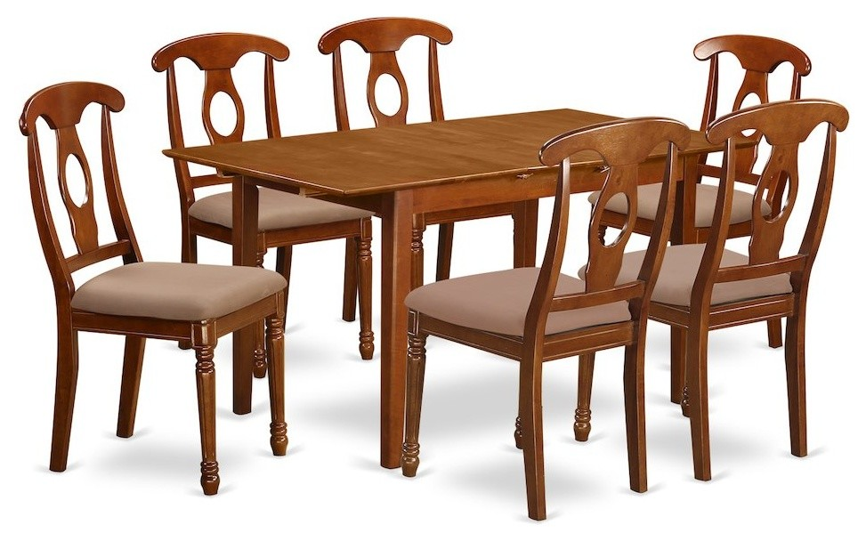 7-Piece Dinette Set, Table, Leaf and 6 Kitchen Chairs With Cushion