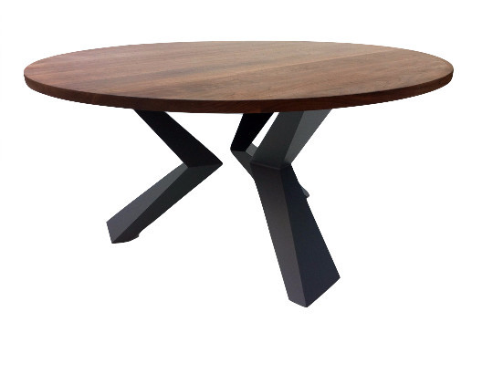 Contemporary Round Solid Walnut Dining Table