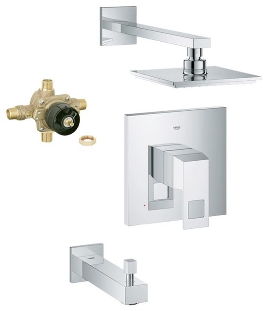 Shop Houzz GROHE Eurocube Shower Tub Combination With Rough In Chrome Tu