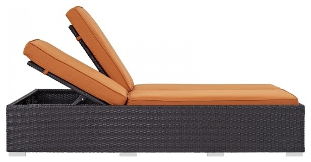 Convene Double Outdoor Patio Chaise Espresso Orange.