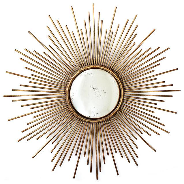 Sunburst Wall Mirror, Antiqued Gold.