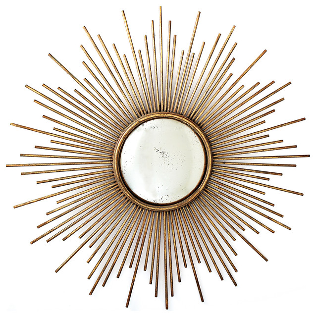 Sunburst Wall Mirror sunburst wall mirror, antiqued gold - midcentury - wall mirrors