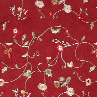 - Red Green And Ivory Embroidered Floral Vines Suede ...