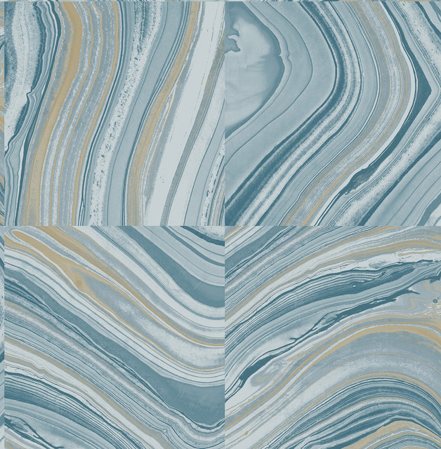 Agate Blue Stone Wallpaper Swatch contemporary-wallpaper - Agate Blue Stone Wallpaper - Contemporary - Wallpaper - By