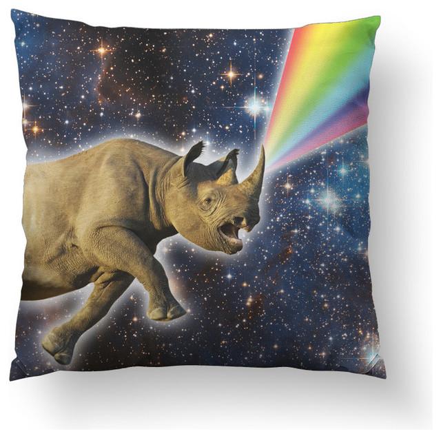 "Rhinocorn Throw Pillow, 14""x14"", Stuffed"