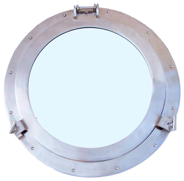 brushed nickel decorative ship porthole mirror decorative porthole beachstyle - Brushed Nickel Mirror