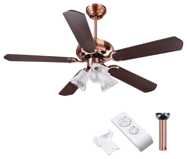 5 Blades Ceiling Fan With Light Kit Reversible Remote Control, Copper.