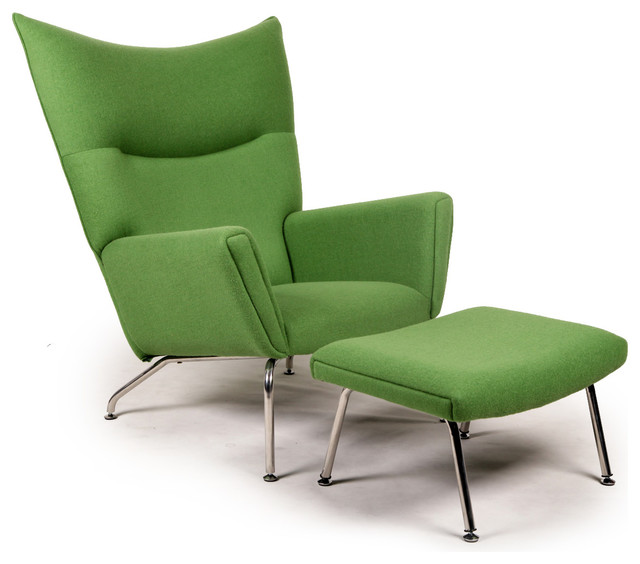 Apple green accent chair - Kardiel Midcentury Modern Wing Chair And Ottoman Cashmere 640x564