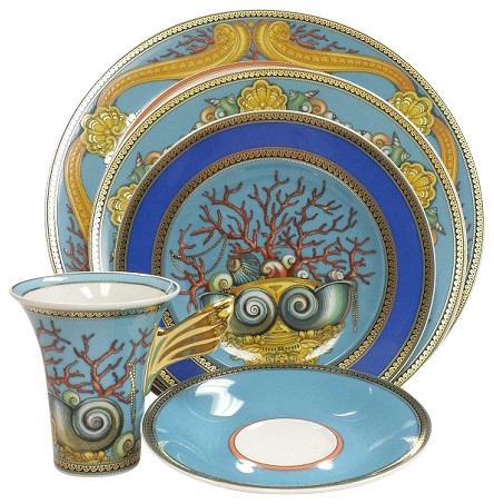 versace la mer 5 piece place setting high cup bord de mer service de vaisselle par. Black Bedroom Furniture Sets. Home Design Ideas