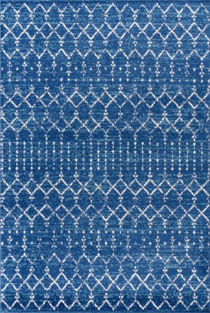 23 x 8 Blue//White JONATHAN Y Moroccan HYPE Boho Vintage Diamond Runner Rug
