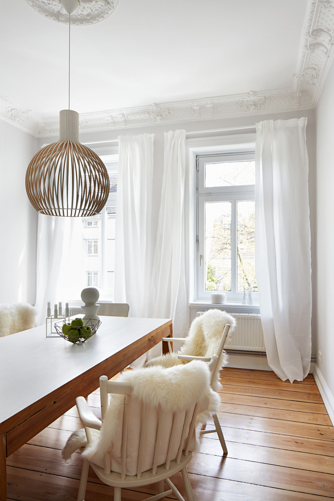Dining room - mid-sized scandinavian medium tone wood floor dining room idea in Munich with white walls