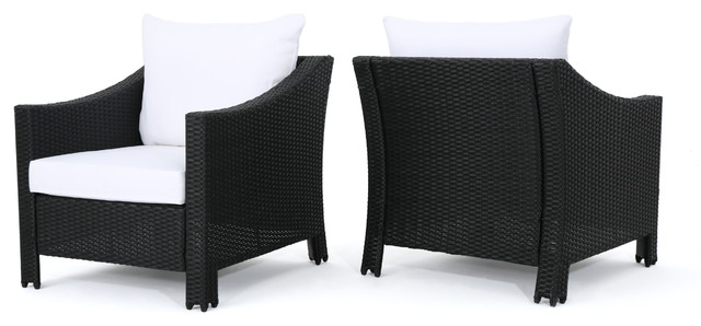 Dione Outdoor Black Wicker Club Chairs With White Cushions, Set Of 2