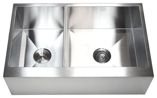 Stainless Steel 40/60 Double Bowl Flat Front Farm Apron Kitchen Sink ...