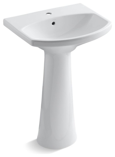Cimarron Pedestal Lavatory With 1-Hole Faucet Drilling, White.