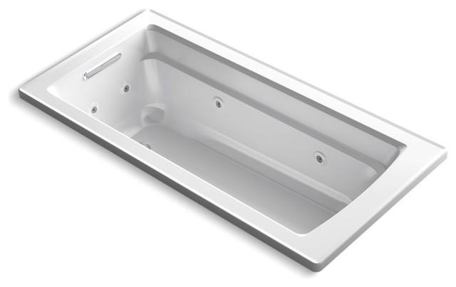 "Archer Drop-In Whirlpool Bath, 66""x32"", White."