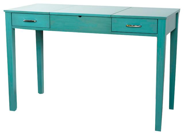 Ainsley Vanity Desk, Turquoise.