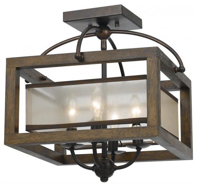 wood mission 4 light flush mount ceiling fixture with organza shade