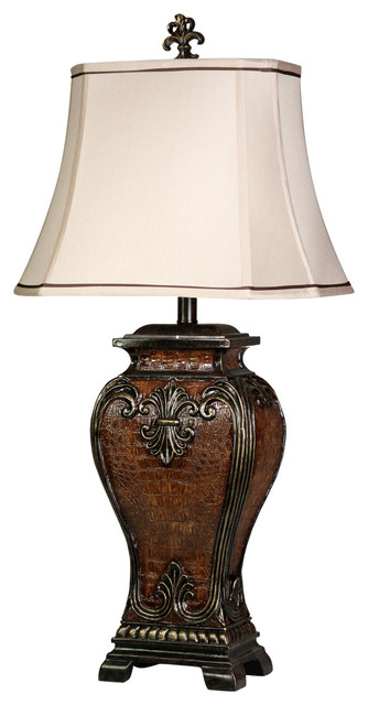 Dundee Table Lamp, Faux Crocodile Hide + Gold Highlighted Finish, Cream Shade.