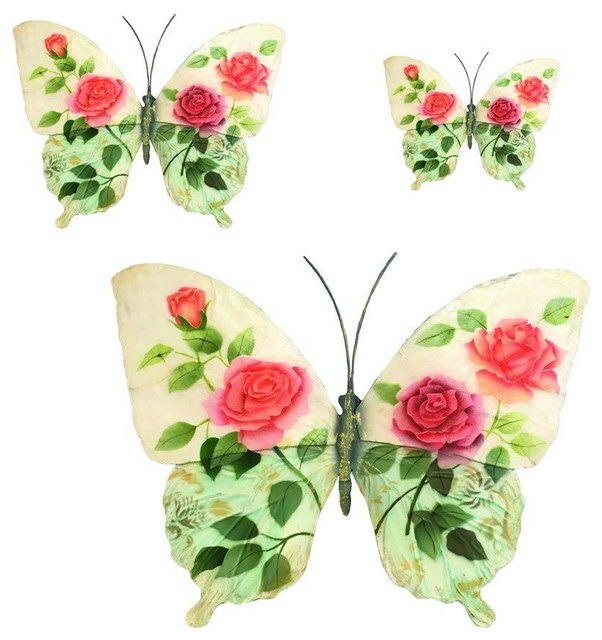 Eangee Home Designs Metal Handcrafted Butterflies White Pink Roses Wall Decor