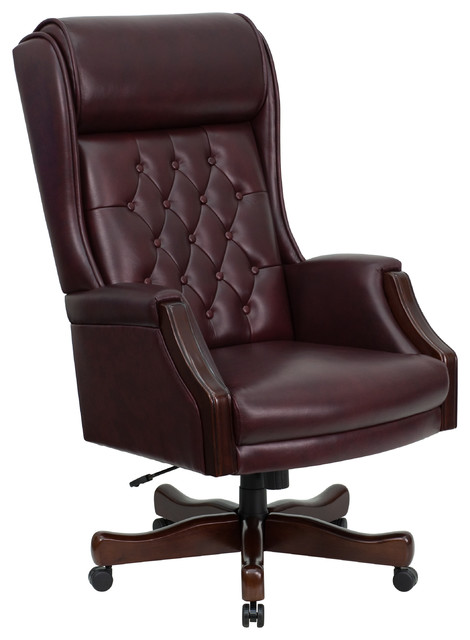 high back traditional tufted burgundy leather executive chair