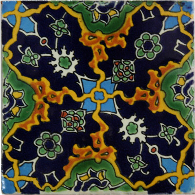 4.2x4.2 9 pcs Syria-Turkish Talavera Mexican Tile by Fine Crafts & Imports