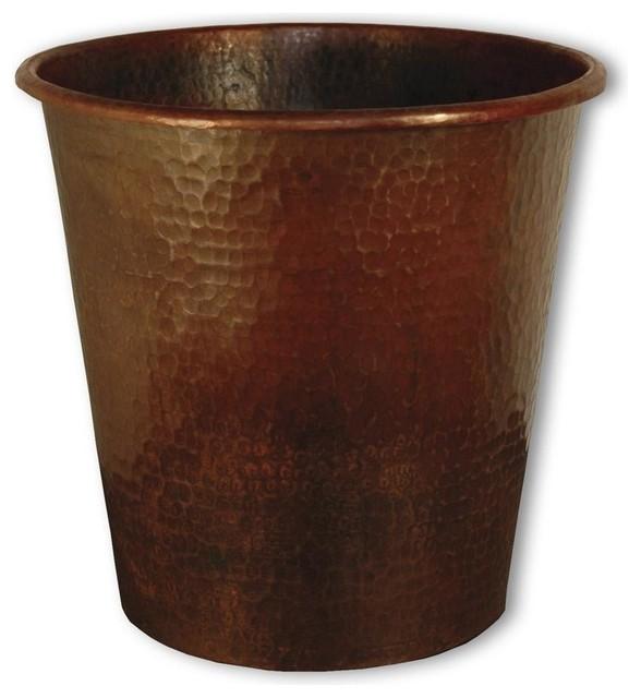 Antique copper waste basket contemporary trash cans by shopladder - Copper wastebasket ...