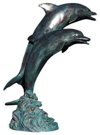 Amazing Large Double Dolphins Garden Accent And Pool Statuary Beach Style Garden  Statues