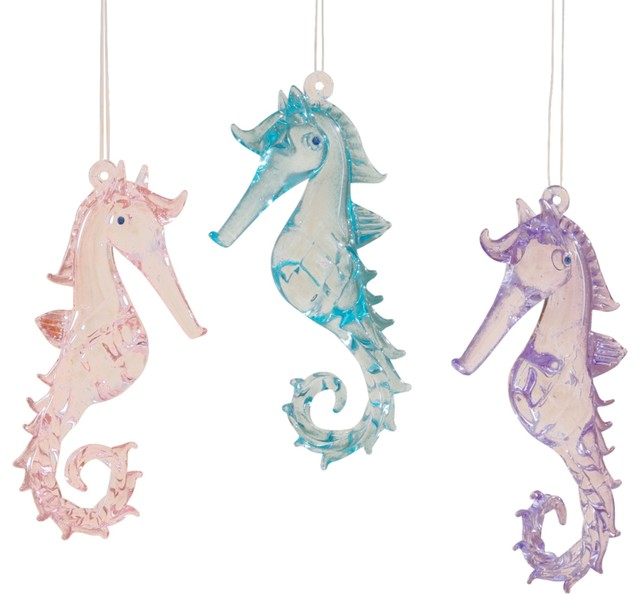 coastal pink purple blue seahorses glass christmas holiday ornaments set of 3 - Seahorse Christmas Ornament