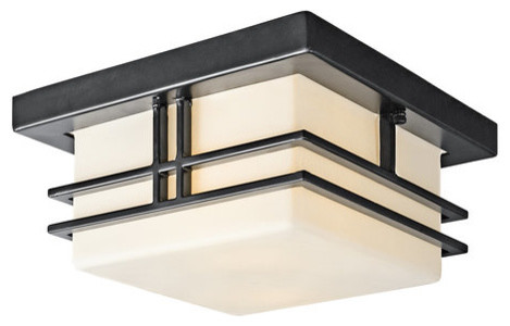 Kichler 49206bk Modern Two Light Outdoor Flush Mount Ceiling Fixture Tremillo Craftsman Outdoor
