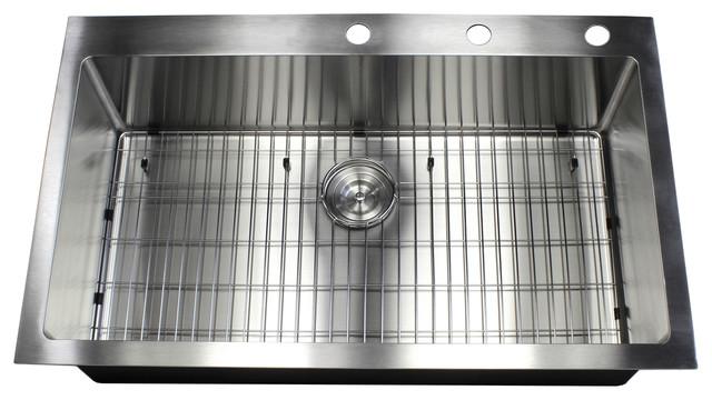 """Ariel 36"""" 16 Gauge Topmount Single Bowl Stainless Steel Sink Package."""