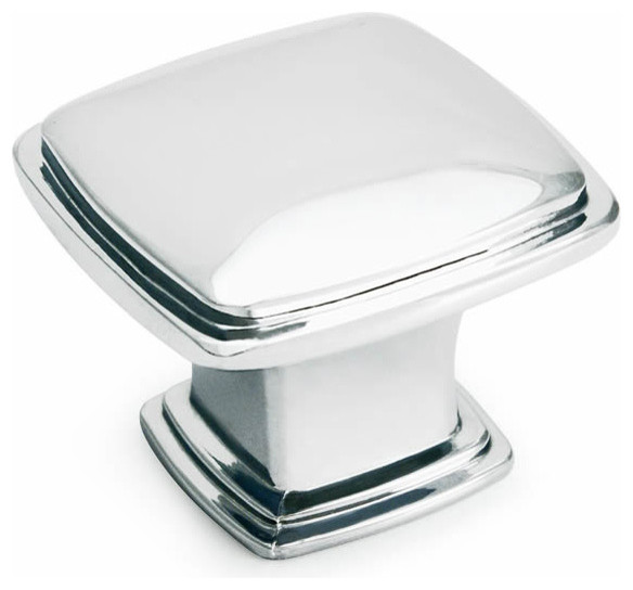 Polished Chrome Square Cabinet Knob - Traditional - Cabinet And Drawer ...