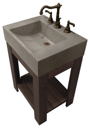 24 Lavare Cado Concrete Vanity Bathroom Sink, Graphite, 3 Holes.