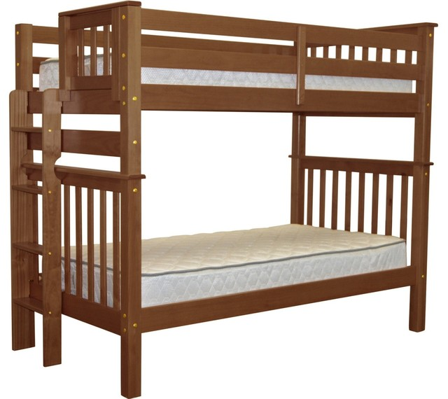 Bedz King Bunk Beds Tall Twin Over Twin With End Ladder, Espresso.