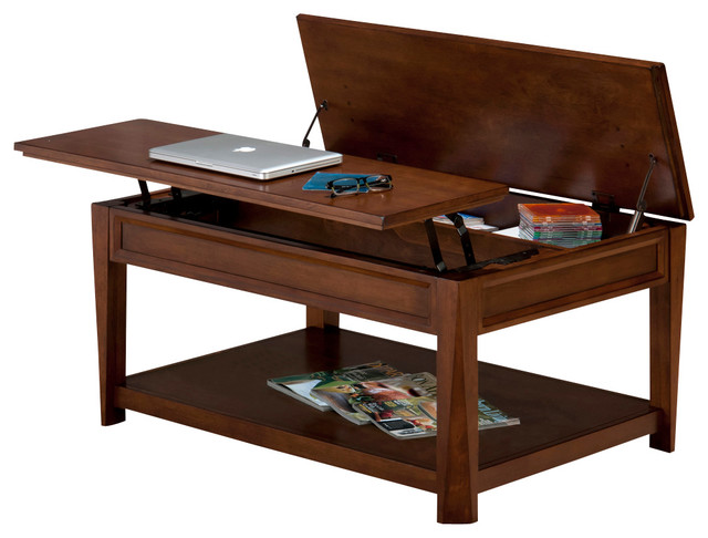 Jofran Bowie Lift Top Cocktail Table with Hidden Storage, Shelf and Casters
