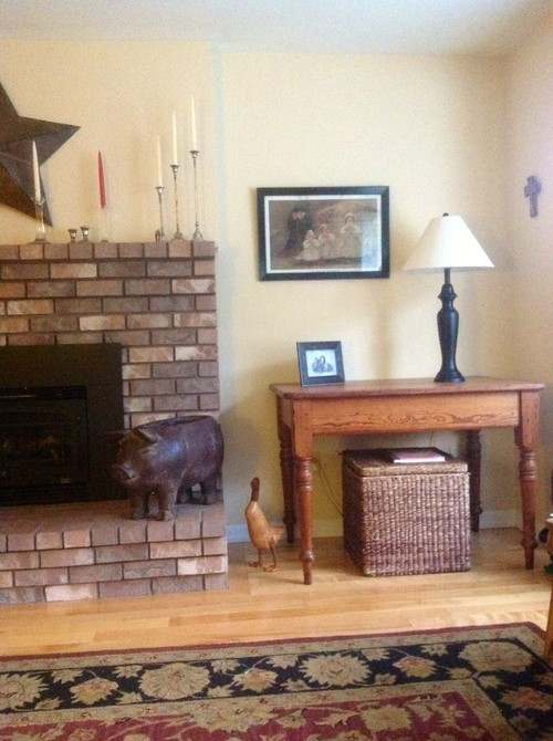 Remove hearth from fireplace & repaint brick?