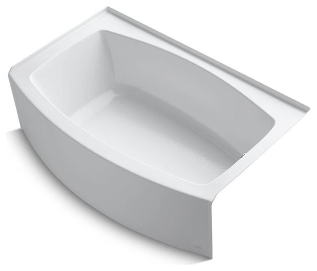 """Expanse Alcove Bath Tub, Right-Hand Drain, 60""""x32-38"""", White."""