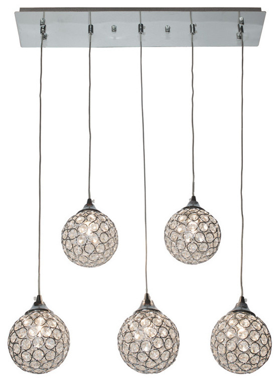 Finesse Decor Sparkling Crystal Dome 5 Pendant