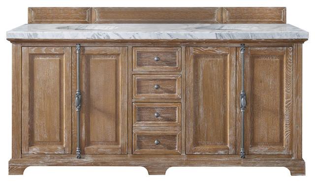 Providence Double Vanity, Driftwood, Santa Cecilia Granite Top, 72.