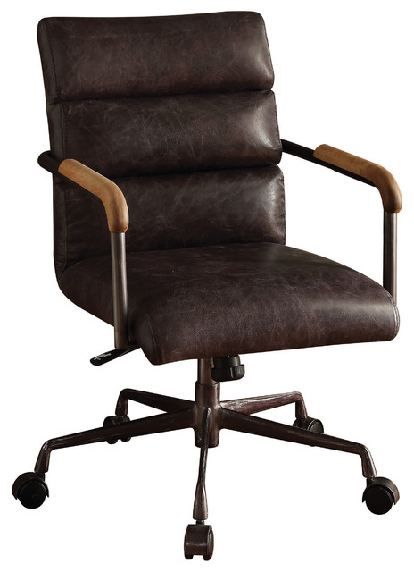 Harith Top Grain Leather Office Chair, Antique Ebony