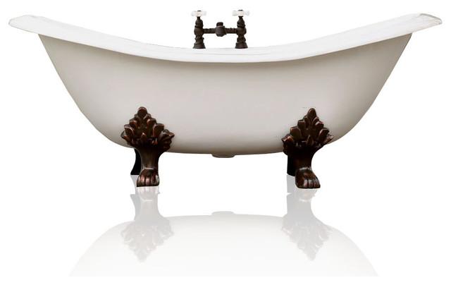 Charmant White Antique Style Cast Iron Porcelain Double Slipper Clawfoot Bathtub 6u0027