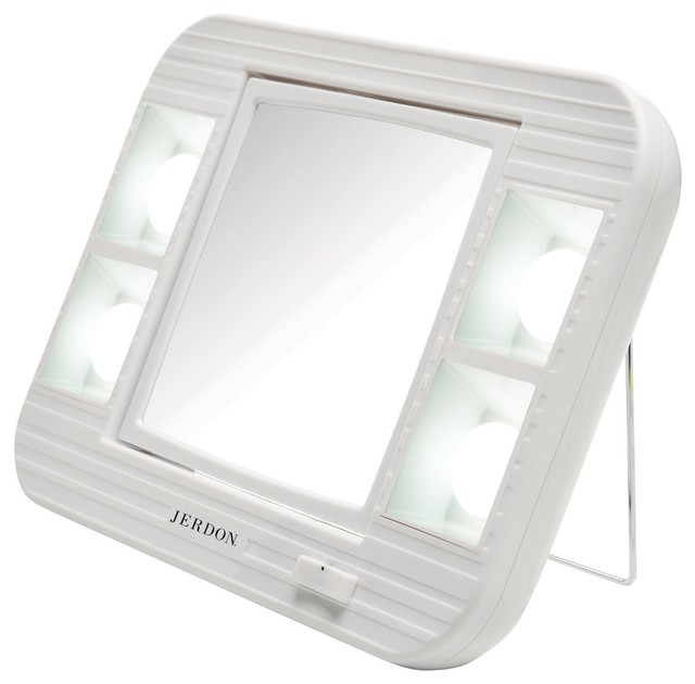 Jerdon Led Lighted Makeup Mirror With 5x-1x Mag.