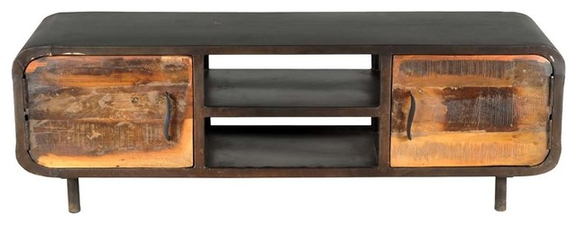 1950u0027s Solid Reclaimed Wood Retro Media Console With Cabinet