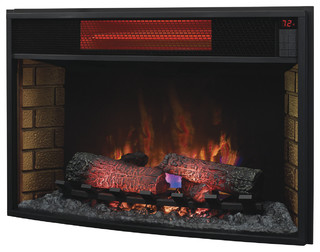 Curved infrared electric fireplace insert 32 contemporary indoor fireplaces by addco - Contemporary electric fireplace insert accessories ...