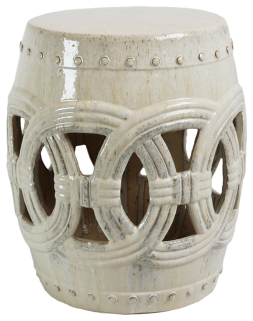 White Ceramic Rope Garden Stool Farmhouse Accent And Stools By Design Mix Furniture