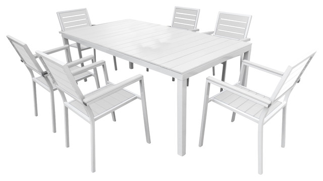 Wonderful 7 Piece Outdoor Dining Set, Silver And White Contemporary Outdoor Dining