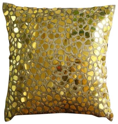 """Luxury Mosaic Gold Euro Sham, Art Silk 26""""x26"""" Euro Shams, The Gold Mosiac."""