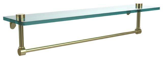 """22"""" Glass Shelf With Towel Bar, Satin Brass."""