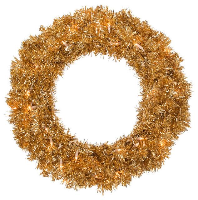 "Antique Gold Wreath, Dura-Lit 50 Clear, 180 Tips, 24""."